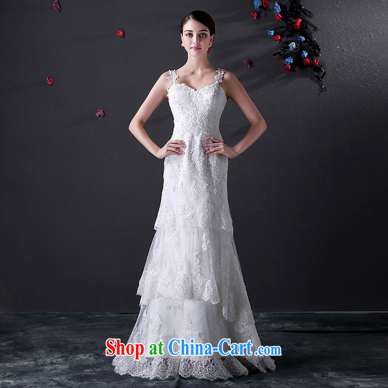 DressilyMe custom wedding - 2015 new lace straps have been cultivating the cake dress wedding retro elegant lace bridal gown White - out of stock 25 day shipping XL