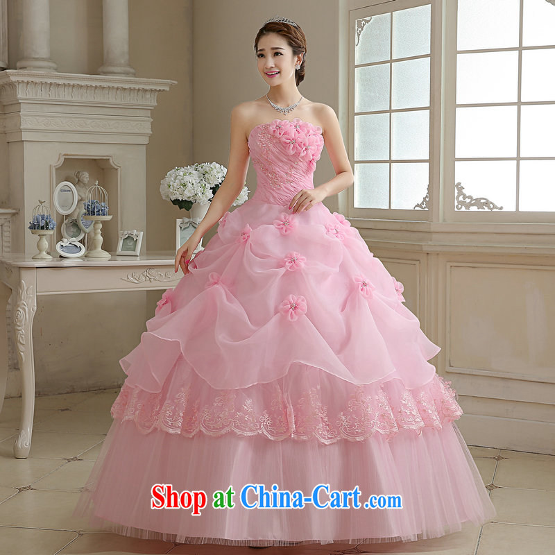 Moon 珪 guijin 2015 new sexy bare chest Korean Princess lovely shaggy dress bridal wedding band, pink S code from Suzhou shipping
