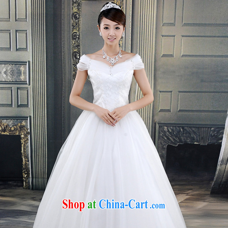 wedding dresses new 2015 with a field shoulder A swing Wedding Video thin spring and summer Korean bridal shoulders white XL