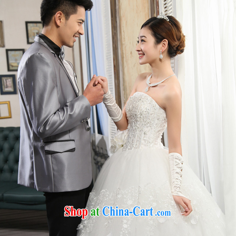 wedding dresses new 2015 Korean wiped chest white beauty graphics thin Princess with shaggy dress white XL