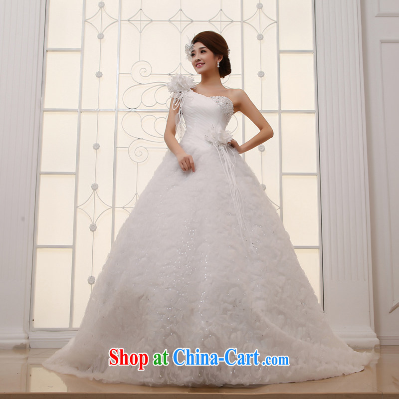 wedding dresses 2015 new large tail Korean single shoulder sweet Princess Deluxe long-tail white XL