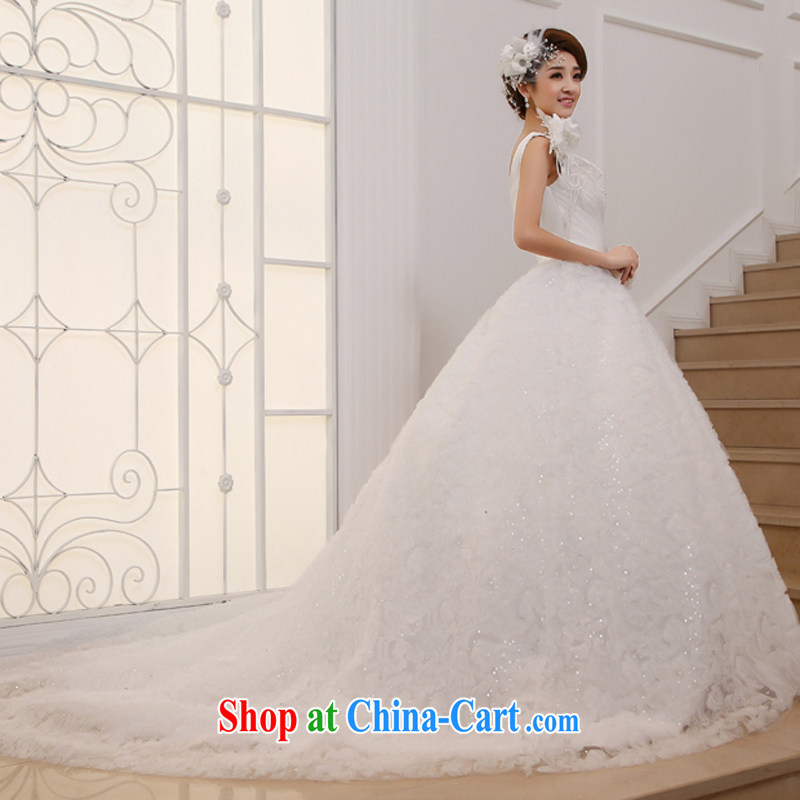 wedding dresses 2015 new, drag and drop the last Korean single shoulder sweet Princess Deluxe long-tail white XL, Hyatt, married, and shopping on the Internet