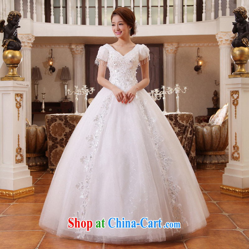 wedding dresses new 2015 version won the Field shoulder spring and summer bridal package shoulder straps graphics thin white with white XL