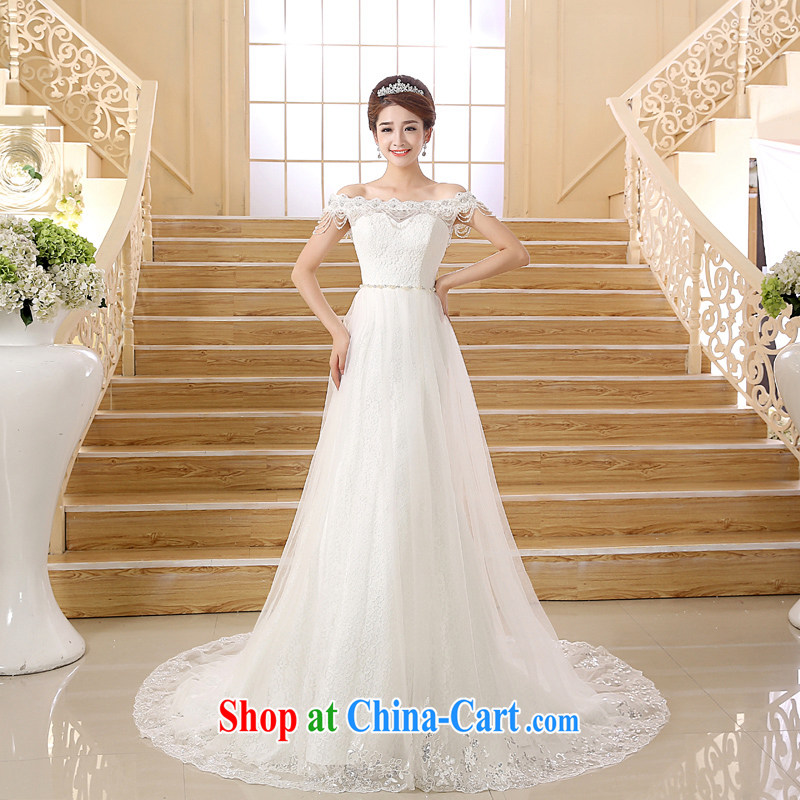 wedding dresses new 20,151 field shoulder strap small tail wedding fashion the waist crowsfoot white XL