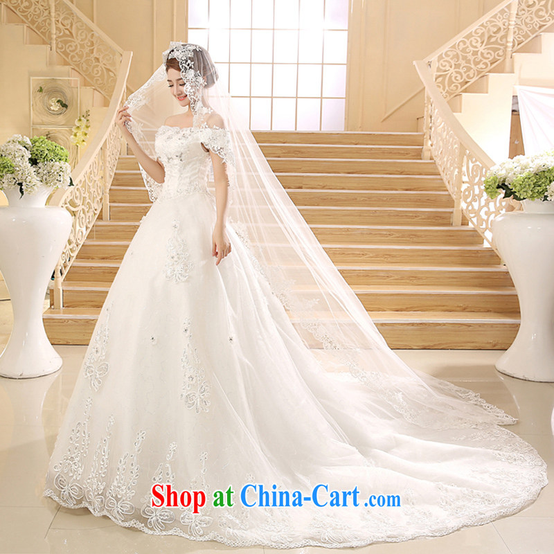 wedding dresses new 2015 Korean-style retro a Field shoulder long-tail graphics thin with strap white XL