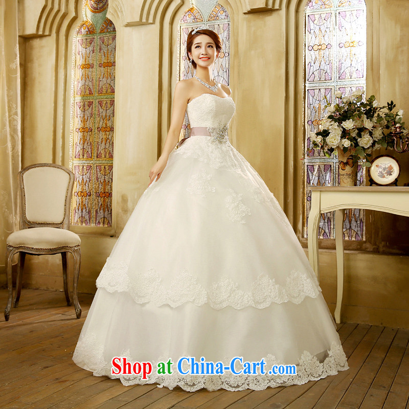Korean edition 2015 new erase chest graphics thin wedding dresses wiped his chest and tied with stylish graphics thin minimalist white XL