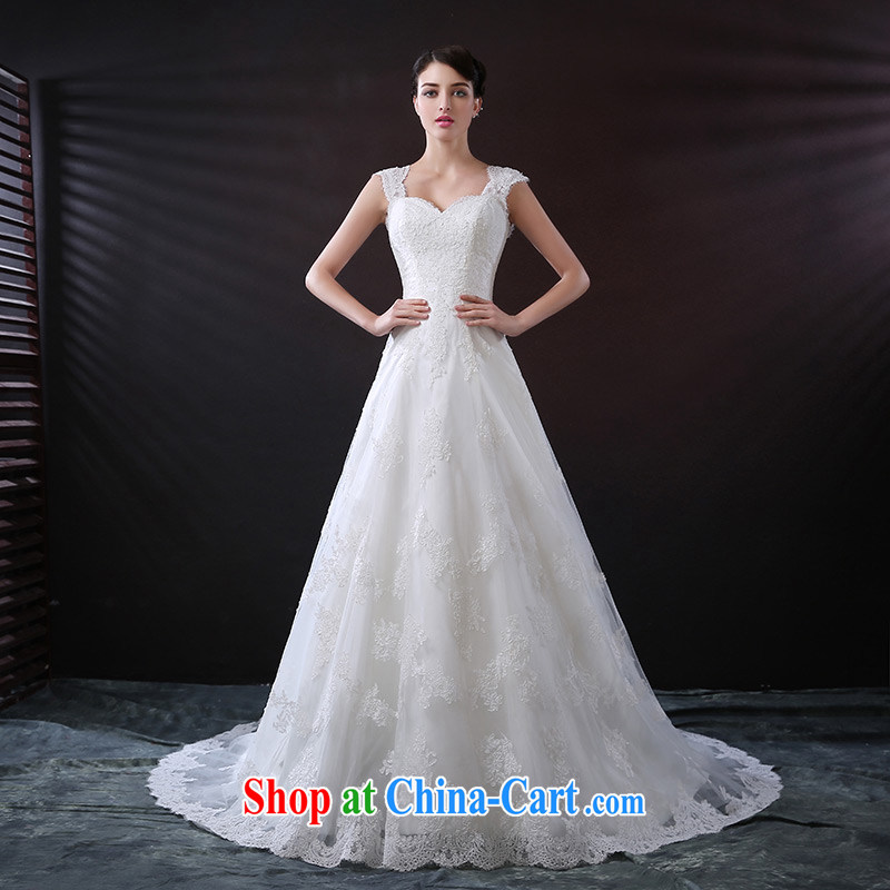 DressilyMe custom wedding - 2015 lace straps parquet drill belt A field dress wedding luxurious tail zipper, bridal gown ivory - out of stock 25 Day Shipping XL
