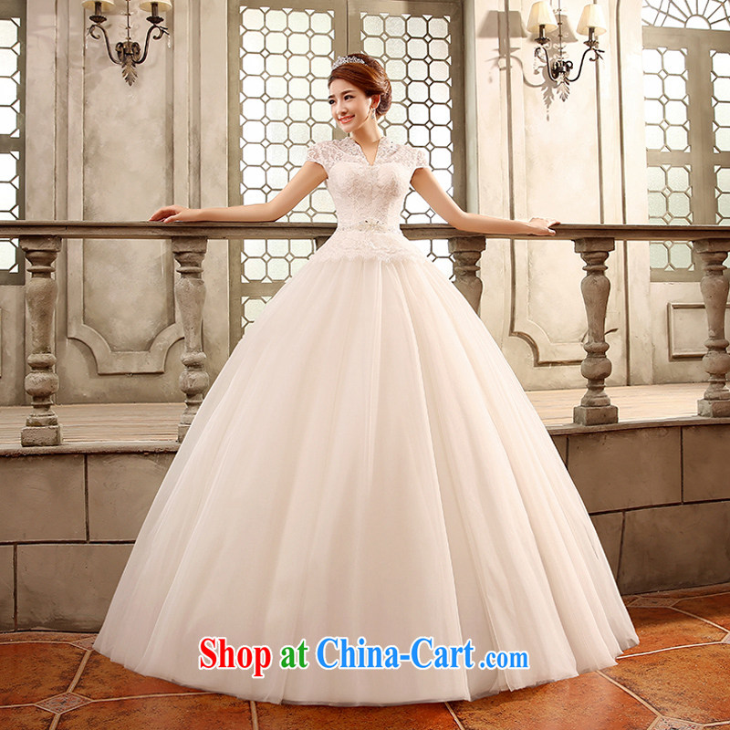 wedding dresses new 2015 Korean-style retro wedding dresses with a shoulder graphics thin package shoulder bridal white XL