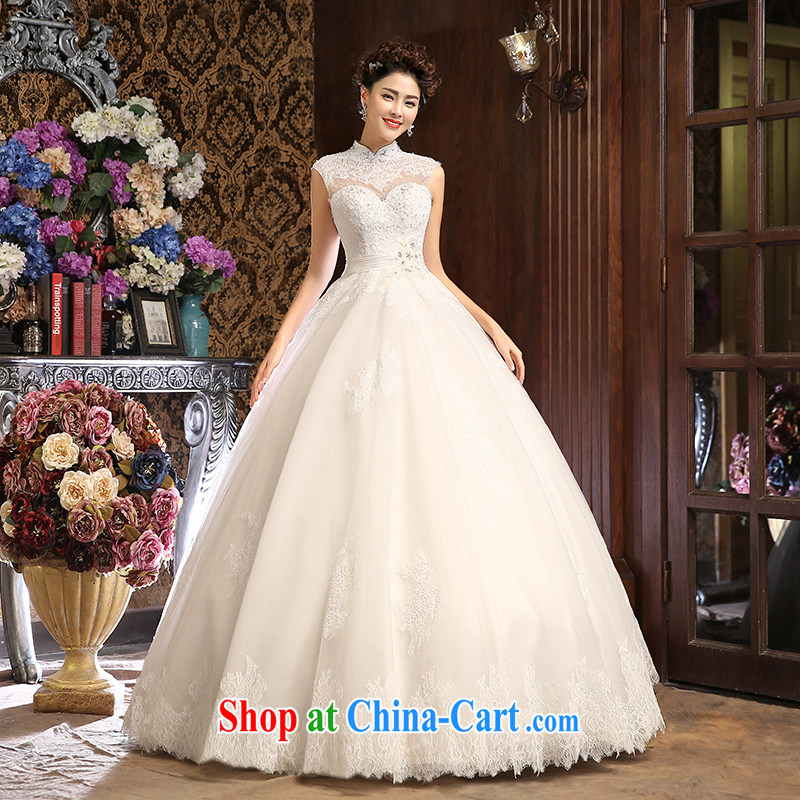 wedding dresses new 2015 spring and summer field shoulder wedding Korean bridal white custom lace hunsha white XL