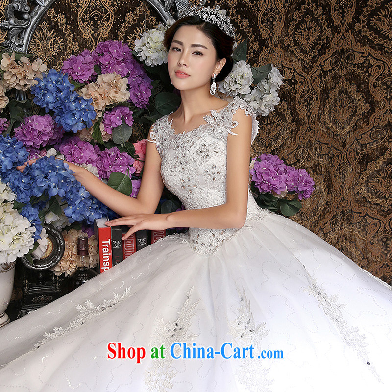 wedding dresses new 2015 Korean-style retro white wedding a Field shoulder graphics thin with white L