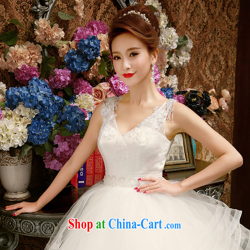Bridal wedding dresses new 2015 Korean-style spring Korean version with straps double-shoulder Wedding Video thin shaggy dress white XL