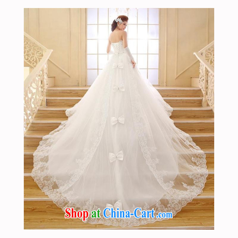 Moon 珪 guijin bridal wedding dresses 2015 new Korean long-tail erase chest lace tail wedding pregnant white XXL code from Suzhou shipping