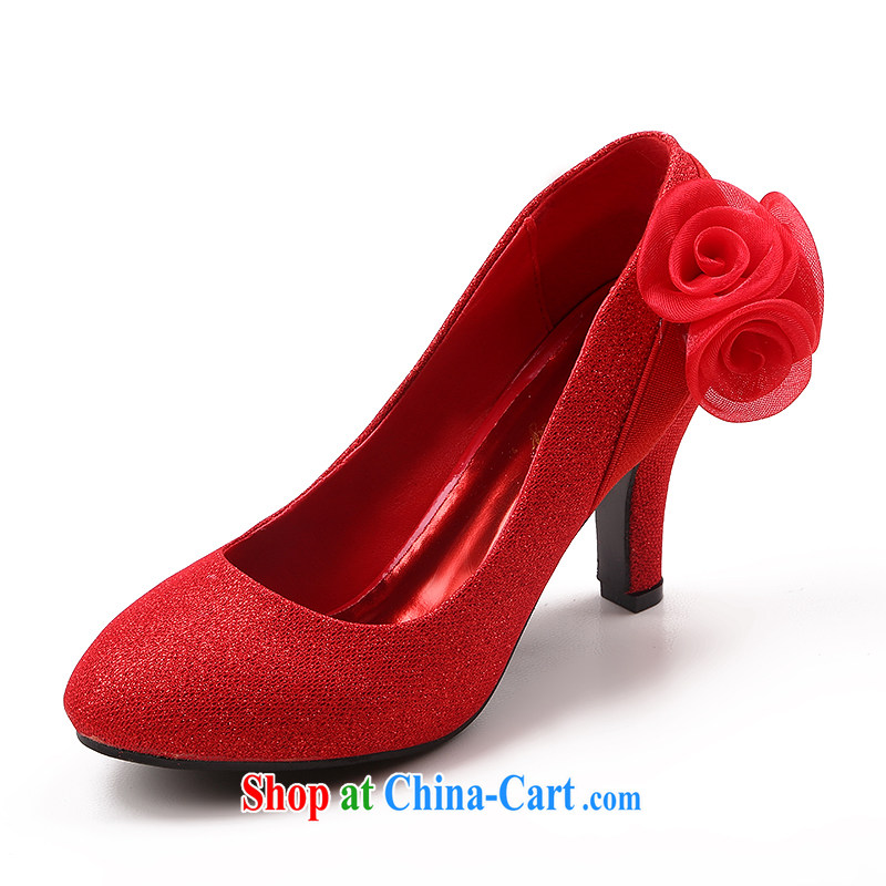 The married Yi 2015 spring and summer New Red wedding shoes bridal wedding shoes single women with frosted flowers wedding shoes red 39