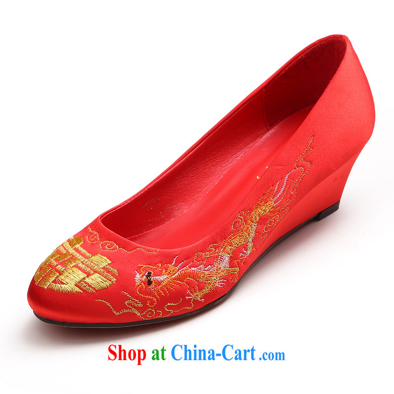 The married Yi 2015 new wedding shoes low rise with large red retro embroidered, bridal wedding bows low with shoes dresses red 39