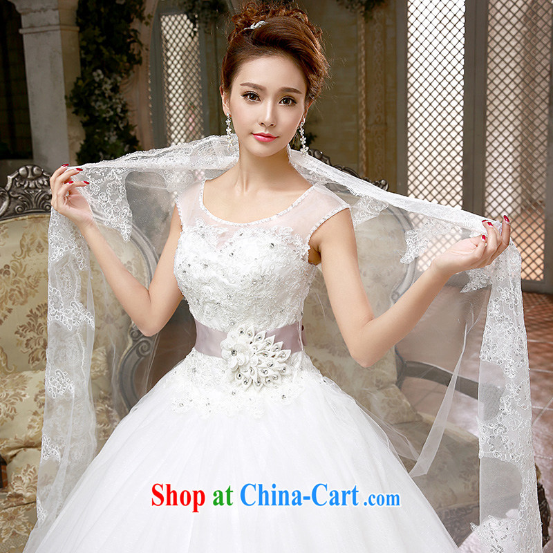 wedding dresses new 2015 Korean Princess white lace retro with spring and summer tied with white XL