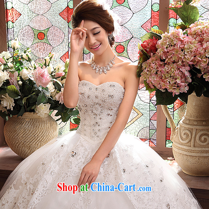 wedding dresses new 2015 Korean version Mary Magdalene Beauty Chest graphics thin Princess with drill shaggy dress white L