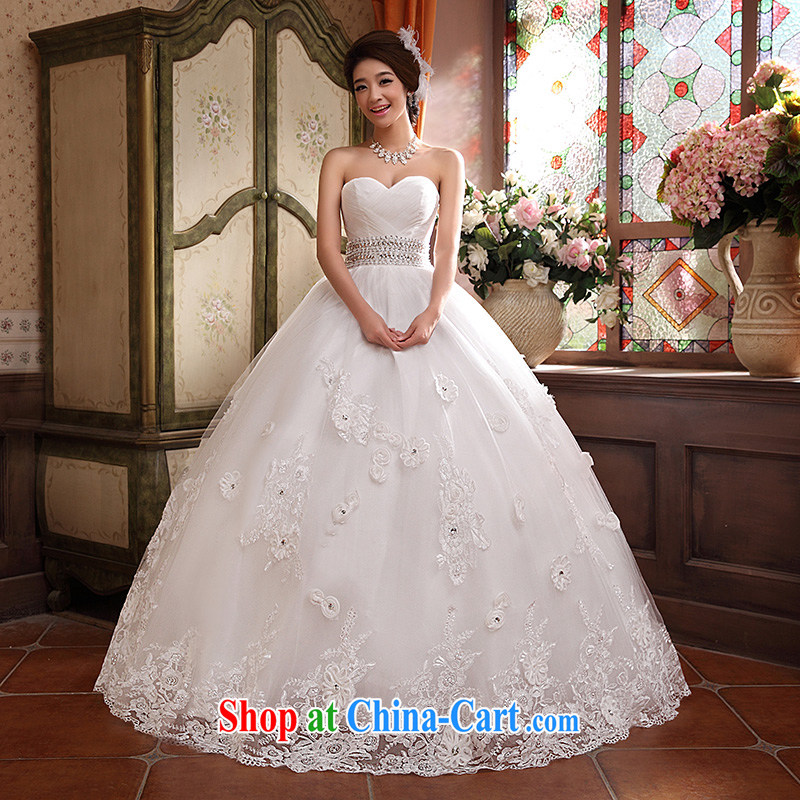 wedding dresses new 2015 Korean version Mary Magdalene Beauty Chest graphics thin Princess with flowers shaggy dress white XL