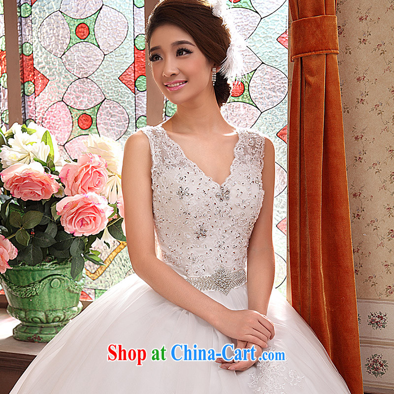 wedding dresses new 2015 Korean-style retro wedding dresses with double-shoulder video thin package shoulder bridal tail white M