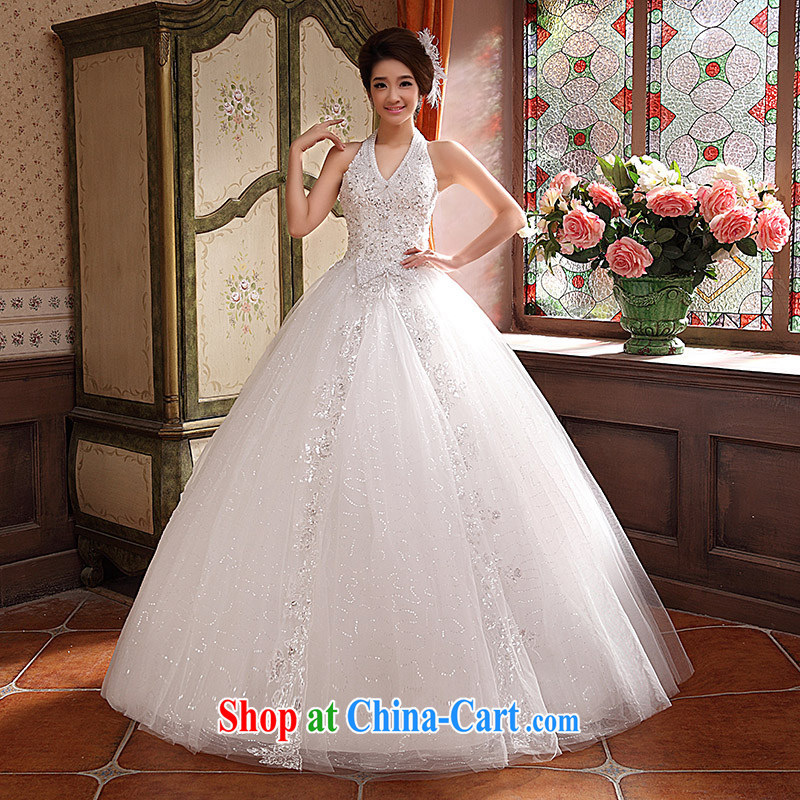 wedding dresses new 2015 Korean white Princess beauty graphics thin wall also straps V-neck sexy white XL