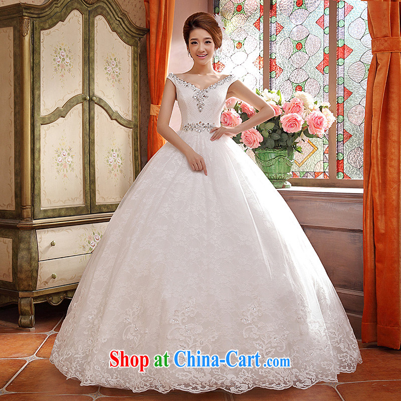 wedding dresses new 2015 spring and summer Korean bridal White Diamond retro a shoulder strap white XL