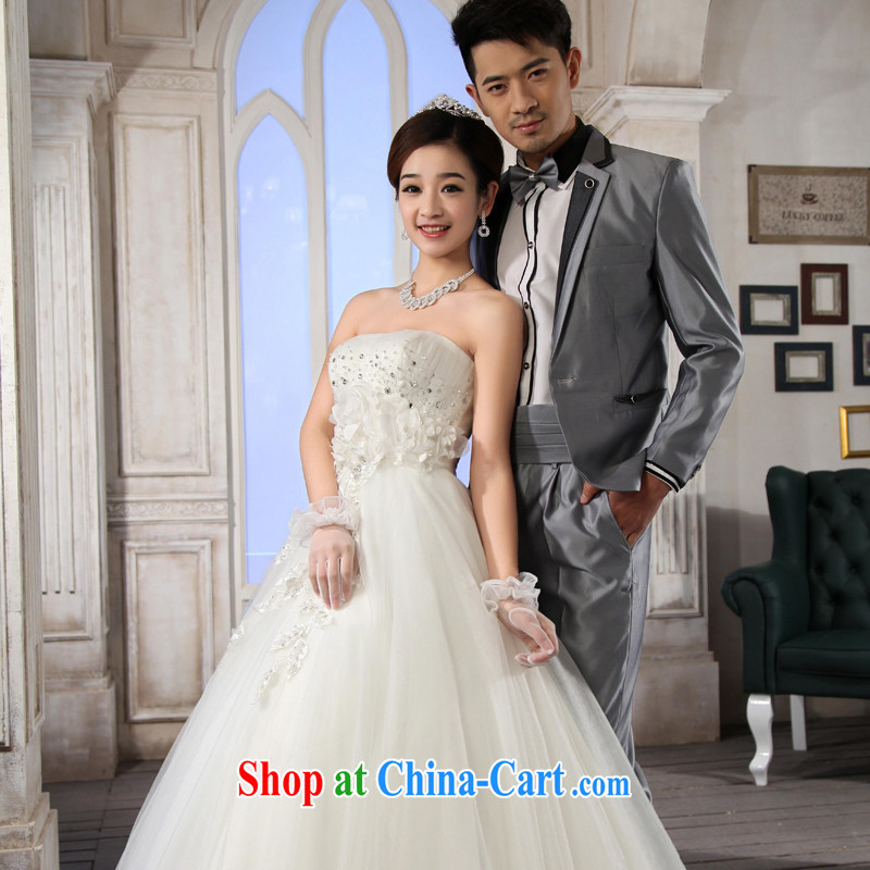 Korean edition 2015 new erase chest graphics thin wedding dresses bare chest drill with strap white XL