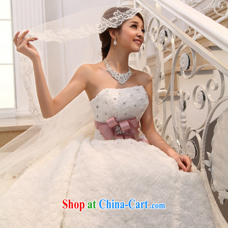 Bridal Suite 2015 new white long-tail bride Korean Deluxe Water drilling off the chest and tail white XL