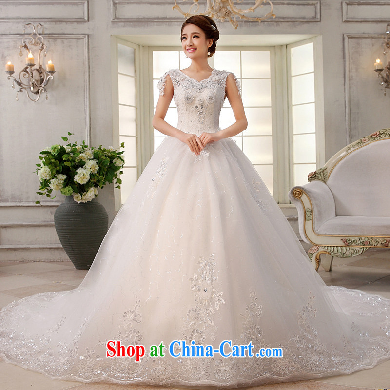 wedding dresses 2015 new white long-tail a Field shoulder bride Korean version Deluxe Water drilling lifting with the trailing white XL
