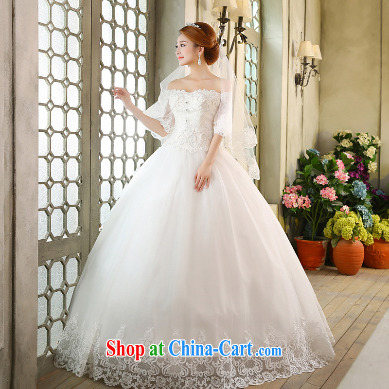 wedding dresses new 2015 Korean bridal white retro a shoulder style with wedding white L