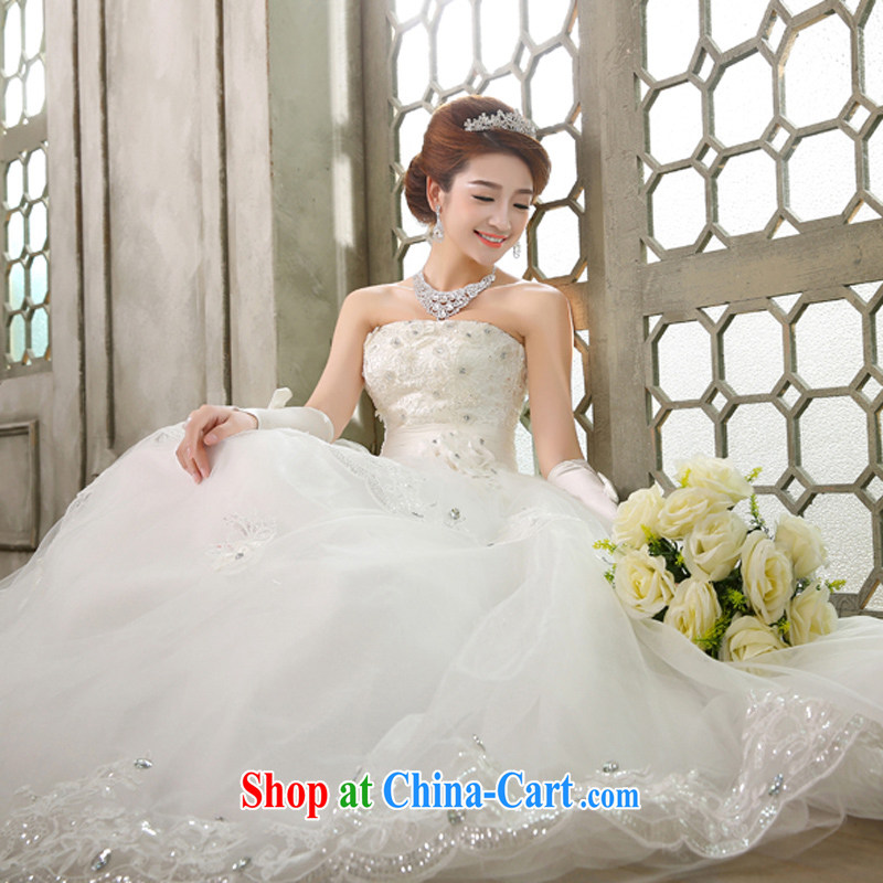 wedding dresses new 2015 Korean wiped chest white beauty graphics thin Princess with flowers white XL