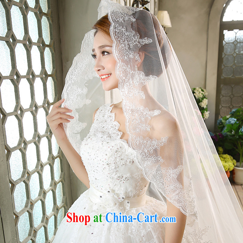 wedding dresses new 2015 Korean Princess with bridal White single flowers shoulder strap with white XL