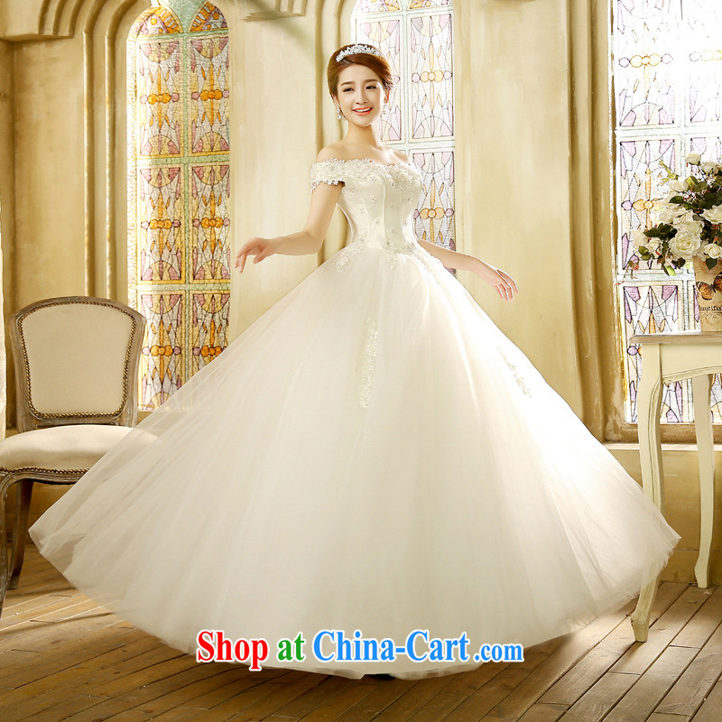 wedding dresses new 2015 Korean bridal white retro a shoulder Princess with wedding white XL