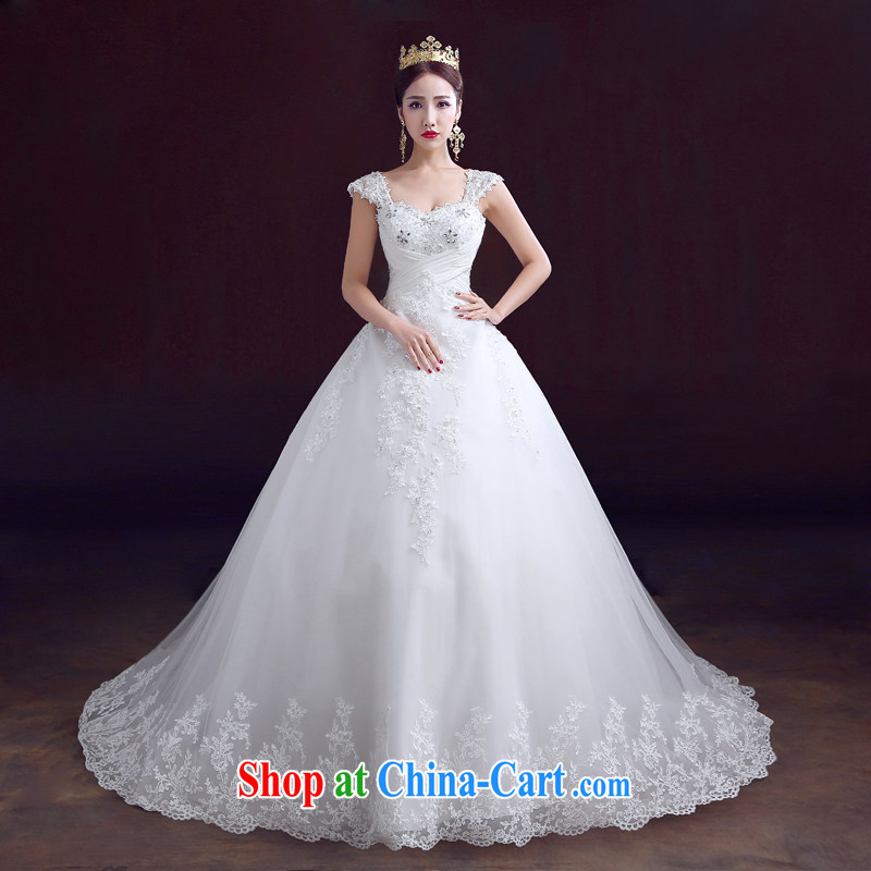 The married Yi wedding dresses summer 2015 new wedding shoulders with wedding wiped his chest a shoulder-tail wedding Korean version the code beauty graphics thin marriage wedding tails, XXL