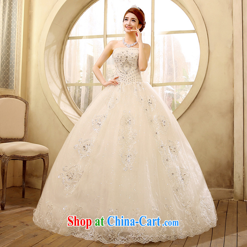 2015 new erase chest graphics thin wedding dresses simple Korean version with drill with drilling water white XL