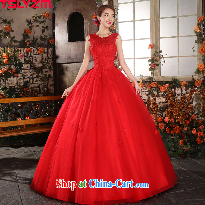 Tslyzm bridal wedding red shoulders V collar with shaggy skirts the waist 2015 Spring Summer tie-fluoro back exposed dresses red XXL
