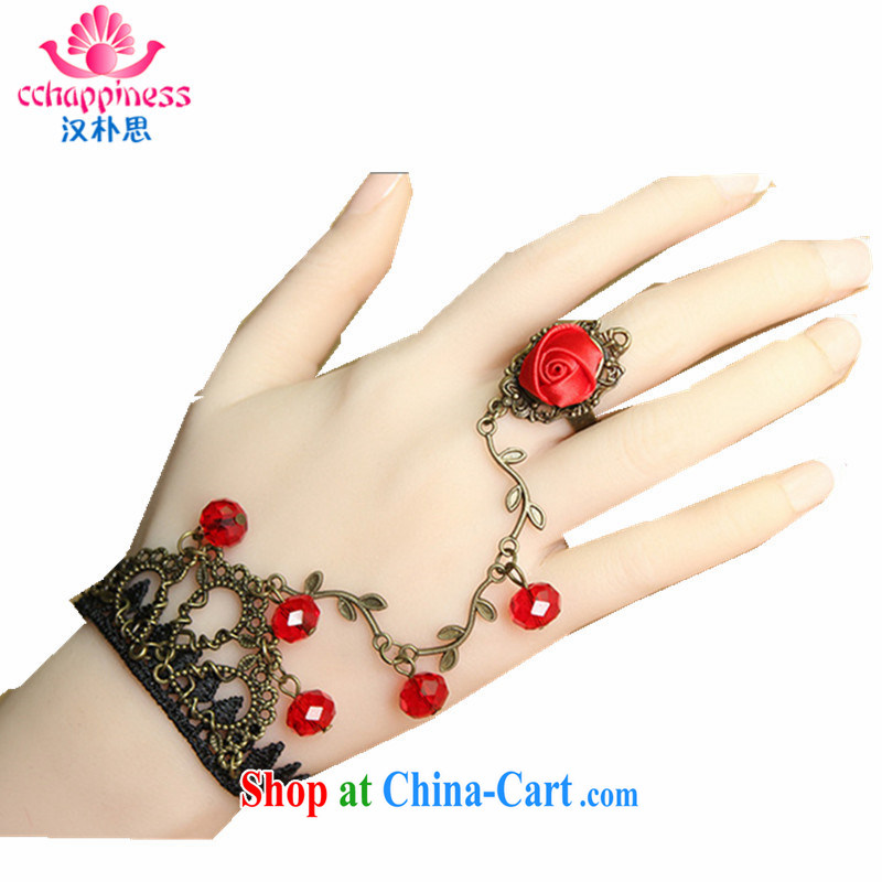 Han Park _cchappiness_ 2015 hot selling Korean jewelry retro lace Hand chain wedding Boutique Suite jewelry rings the Product RED