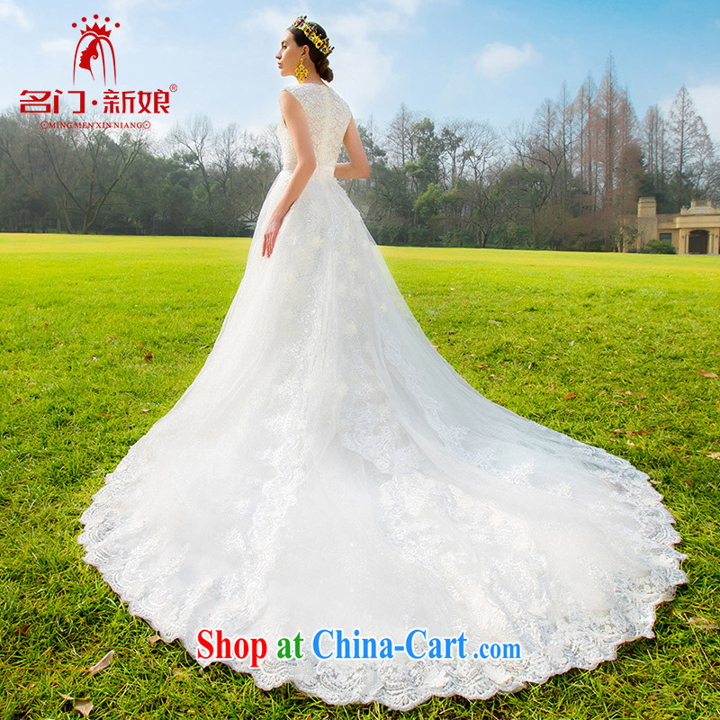 The bride's 2015 new lace-tail wedding stylish minimalist design luxury Olympic drill A L 571