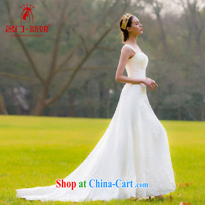 The bride's wedding dresses 2015 new Korean Princess Mary Magdalene sweet chest lace tail wedding 956 L