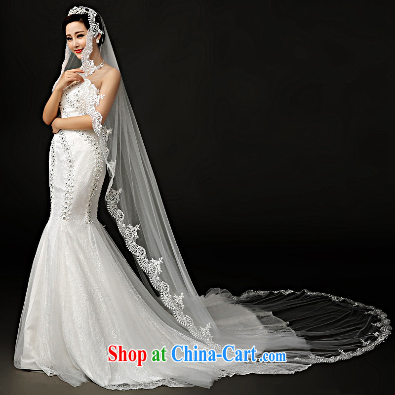 A good service is 2015 new brides and legal wedding dress and Legal Extra-long 3M lace wedding dresses and accessories white