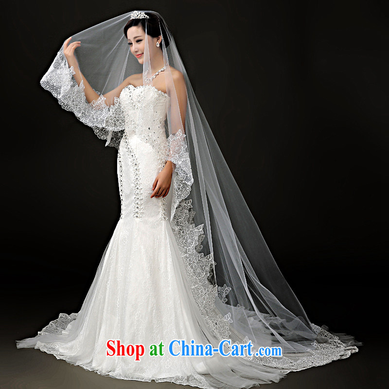 A good service is 2015 new brides and legal wedding dresses and wedding dresses and Legal Extra-long 3M lace and yarn white