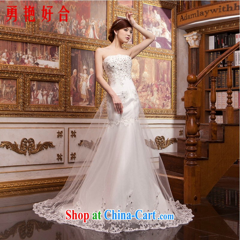 Yong-yan and Han-bridal beauty wedding crowsfoot long-tail wedding dresses 2015 new lace bare chest antique small crowsfoot white XXL