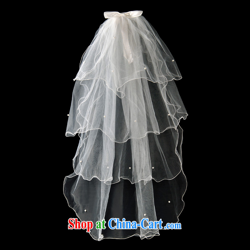 Serving a good solid marriages wedding butterfly knot yarn bridal wedding Pearl layer 4 header yarn white 100 cm - 135 CM, good service, and shopping on the Internet