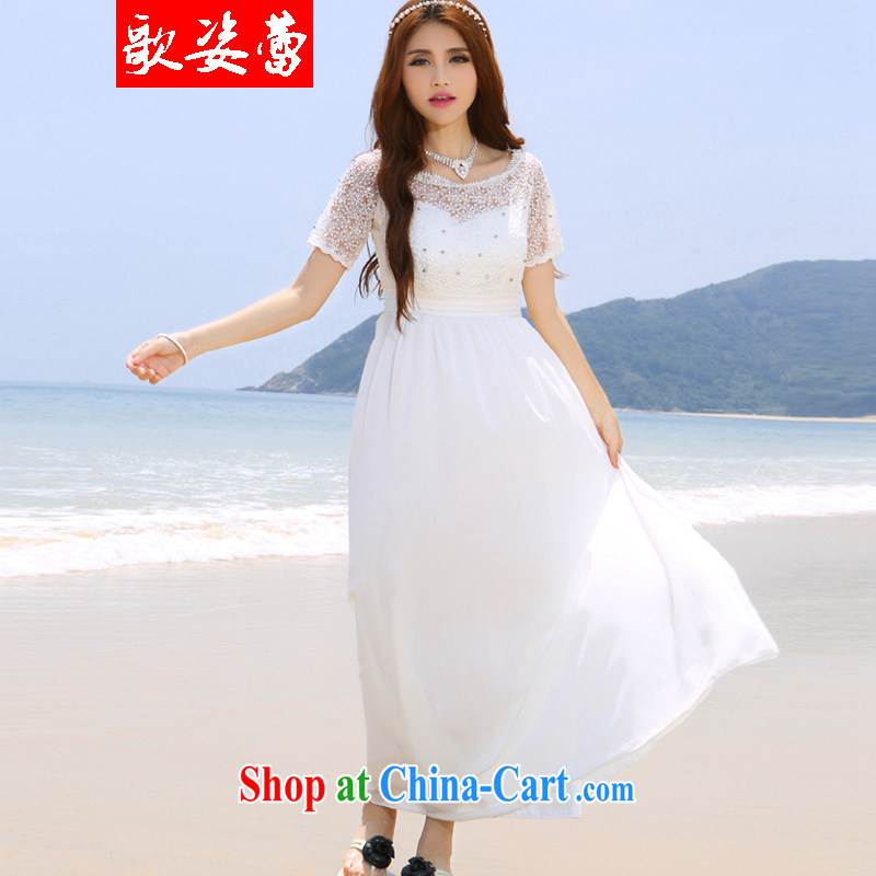 Enjoy music ballet 2015 Korea Maldives beach dress wedding nails Pearl inserts drill dress long dress white L