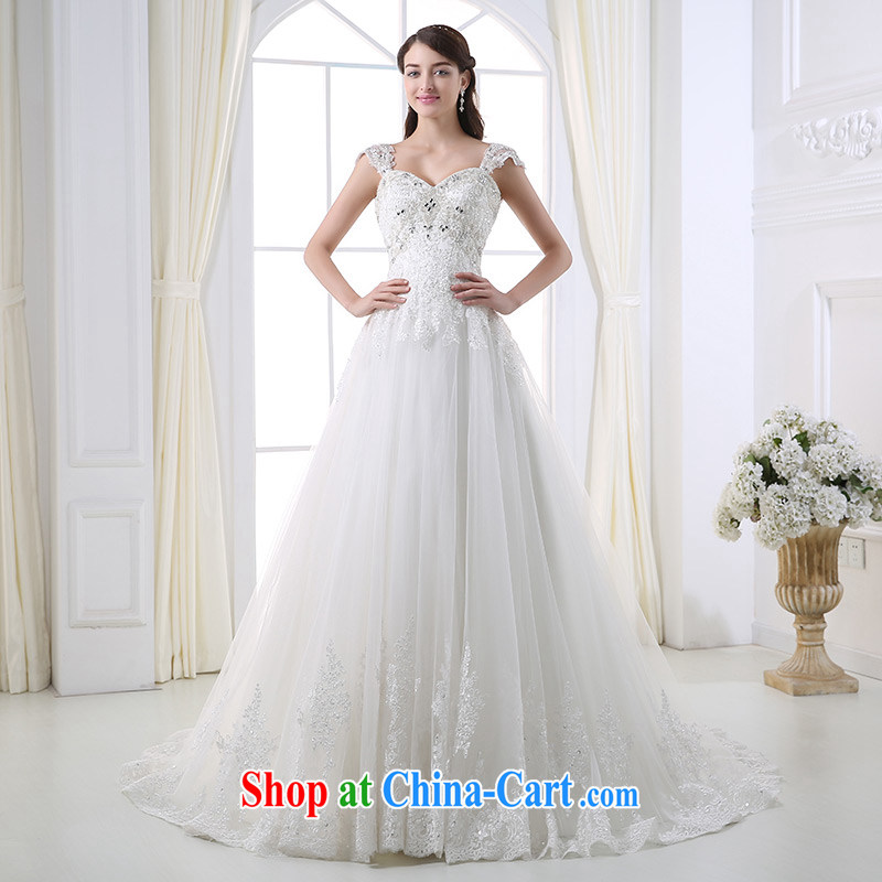 DressilyMe custom wedding - 2015 parquet drill removable strap waist in luxurious tail lace shaggy wedding zipper bridal gown ivory - out of stock 25 Day Shipping XL