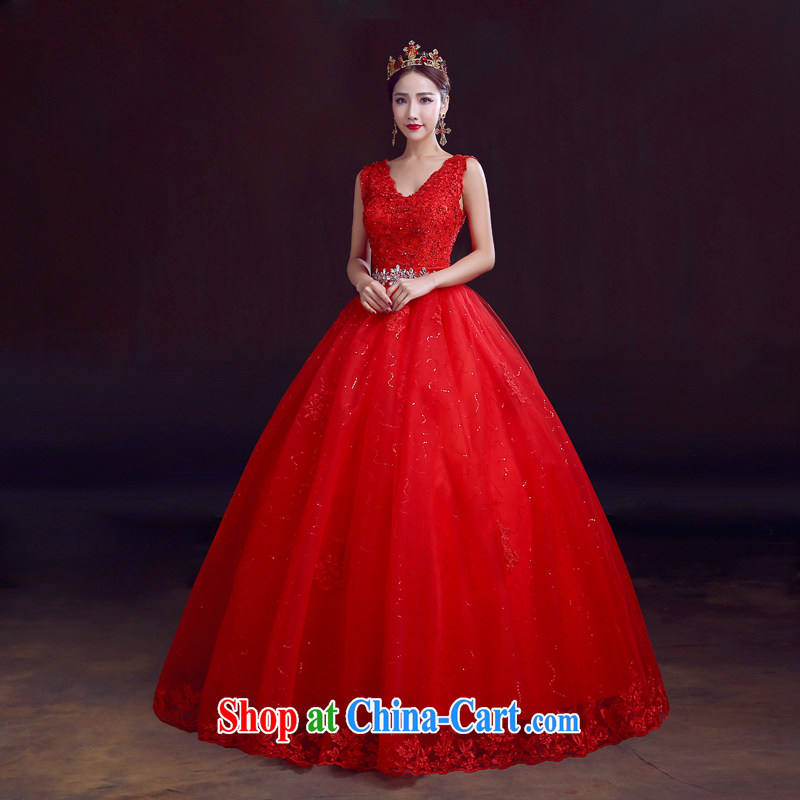 The married Yi wedding dresses new 2015 spring shoulders red with shaggy cluster bridal wedding marriage with deep V collar strap, red M