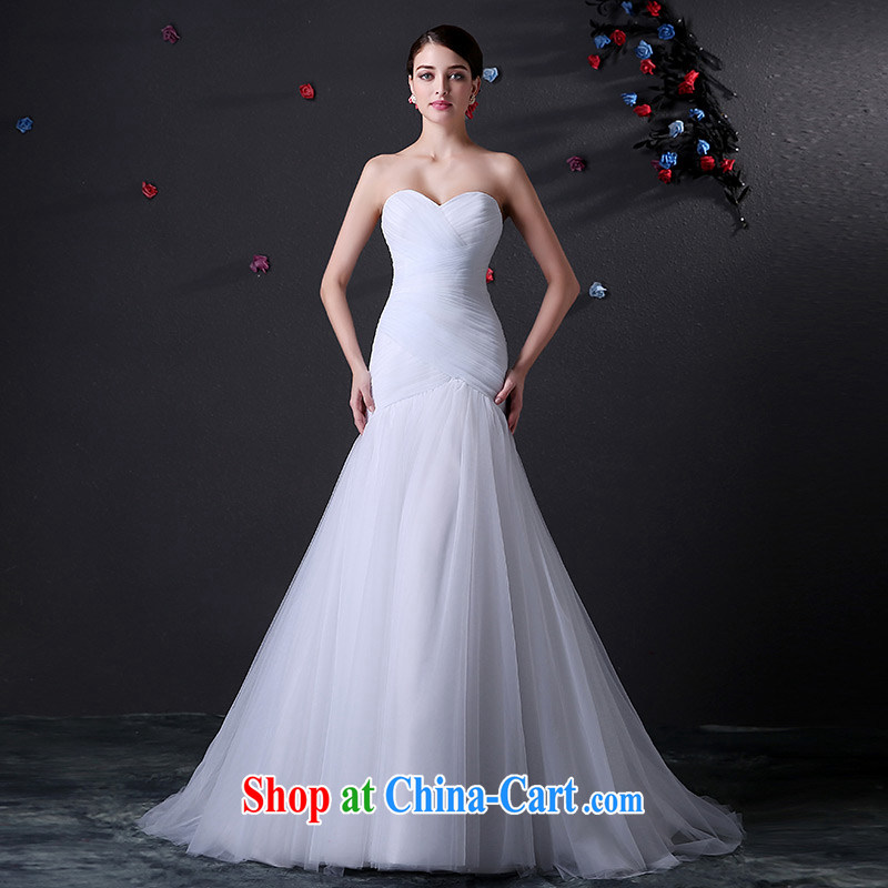 DressilyMe custom wedding dresses - 2015 spring and summer wiped his chest pressure hem package and cultivating crowsfoot with shawl wedding, waist straps small tail dress ivory - out of stock 25 Day Shipping XL