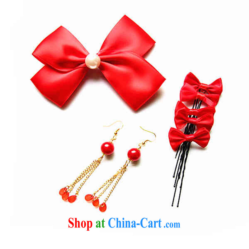 Butterfly knot card 7 piece bridal jewelry dress with large red Korean jewelry red ear fall
