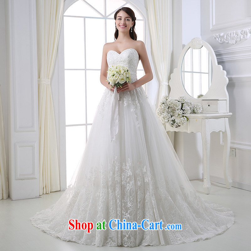 DressilyMe custom wedding - 2015 spring and summer wiped chest lace luxury shaggy wedding beauty zipper tail retro bridal wedding dresses ivory - out of stock 25 Day Shipping XL