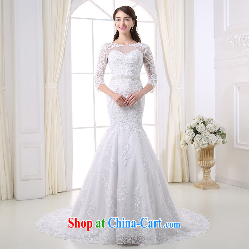 DressilyMe custom wedding - 2015 gauze a field for 7 sub-cuff lace inserts drill temperament crowsfoot wedding zipper tail bridal gown White - out of stock 25 day shipping XL