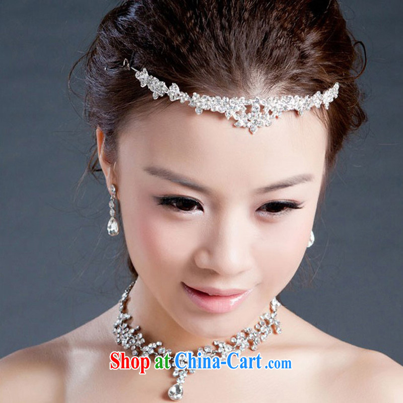 Korean-style Pearl water drilling bridal jewelry crown and ornaments necklace 3 piece wedding dresses accessories