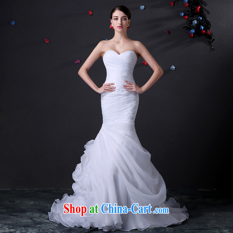 DressilyMe custom wedding - 2015 spring fashion the hem erase chest crowsfoot flouncing skirt wedding fashion tight straps and hem bridal gown ivory - out of stock 25 day shipping XL
